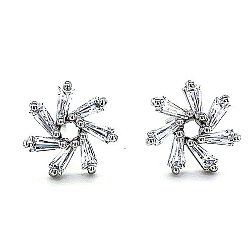 Sterling Silver Cubic Zirconia Stud Earrings 132857