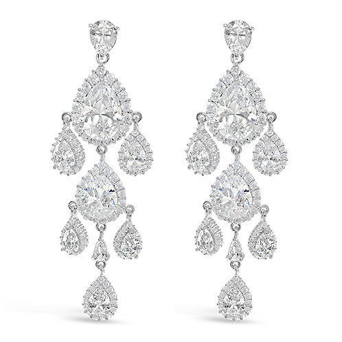 Bridal Cubic Zirconia Silver Chandelier Earrings 126551