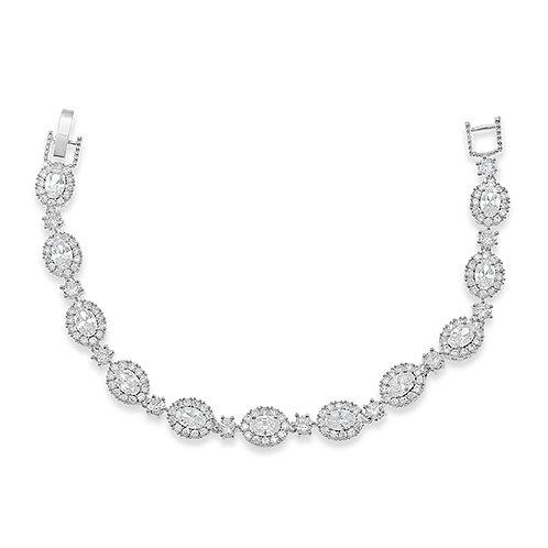 Bridal Silver Cubic Zirconia Oval Bracelet 131631