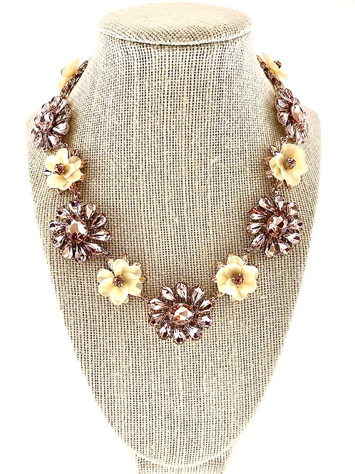 Fashion Crystal Flower Necklace & Earrings Set 138979