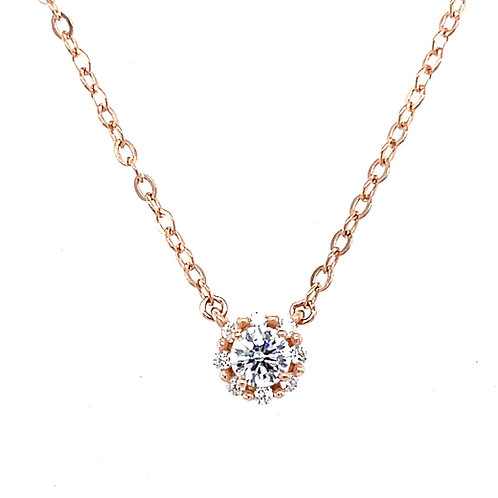 Rose Gold Plated Sterling Silver Cubic Zirconia Round Necklace 126044