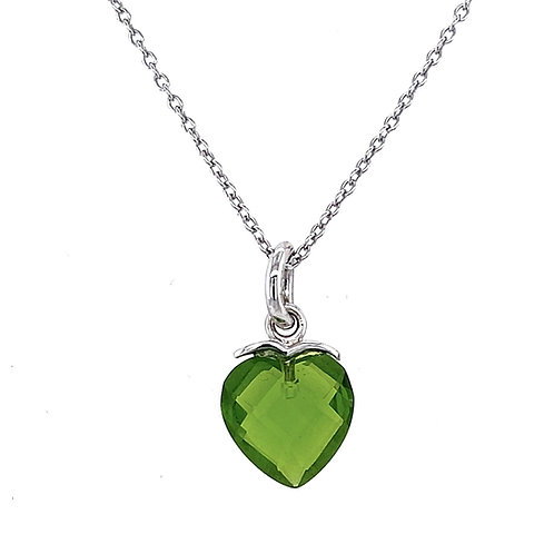 Sterling Silver Cubic Zirconia Heart Green Color Necklace 117108