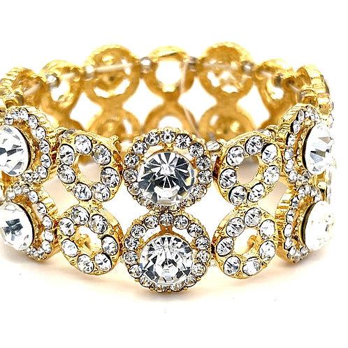 Fashion Gold Crystal Elastic Round Bracelet 138360