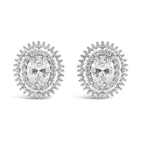 Bridal Sivler Cubic Zirconia Oval Stud Earrings 129628