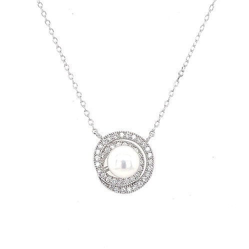 Sterling Silver Cubic Zirconia Pearl Necklace 132376