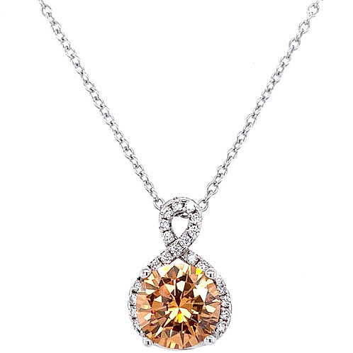 Sterling Silver Cubic Zirconia Round Outline Champion Necklace 10121143
