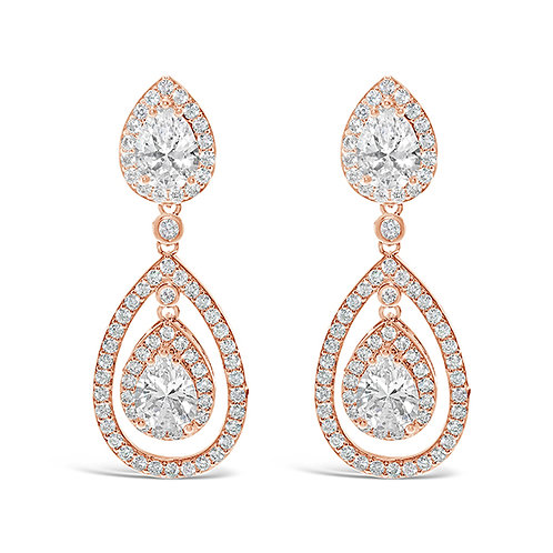 Rose Gold Cubic Zirconia Tear Drop Halo Earrings 131642-10124415