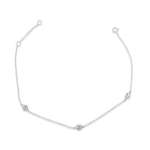 Sterling Silver Cubic Zirconia Bezel Anklet 143318
