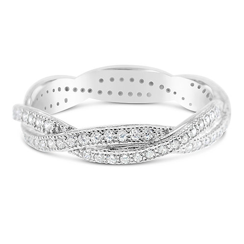 Sterling Silver Micro Pave Cubic Zirconia Ring 128779
