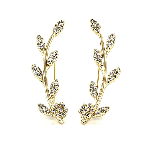 Gold Plated Sterling Silver Cubic Zirconia Leaf Crawler Earrings 126933