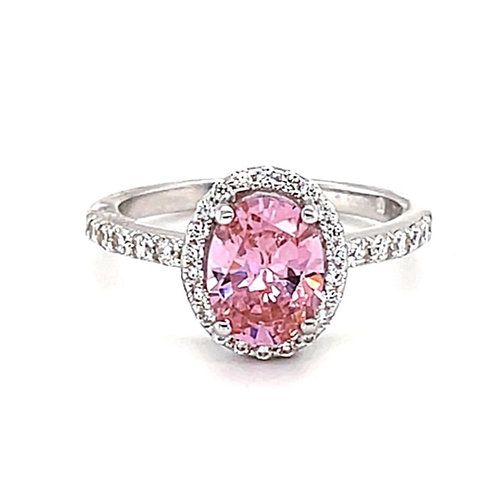 Sterling Silver Pink Cubic Zirconia Oval Ring132225