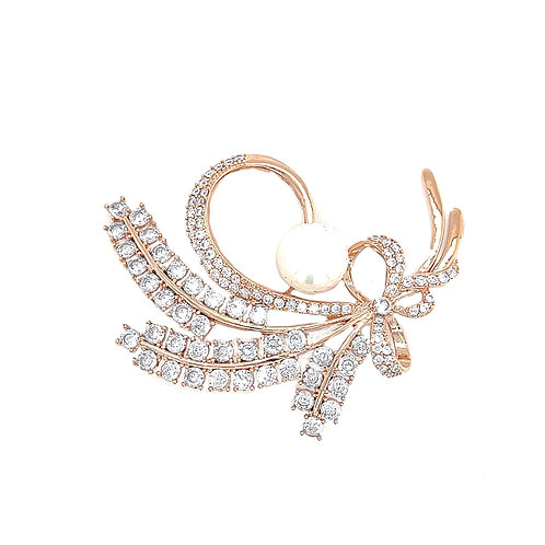 Fashion Rose Gold Cubic Zirconia Pearl Brooch 141628