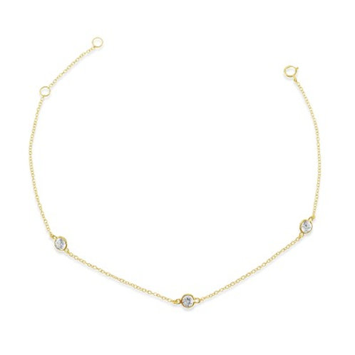 Gold Plated Sterling Silver Cubic Zirconia Bezel Anklet 143319