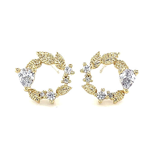 Gold Plated Sterling Silver Cubic Zirconia Leaf Stud Earrings 141291