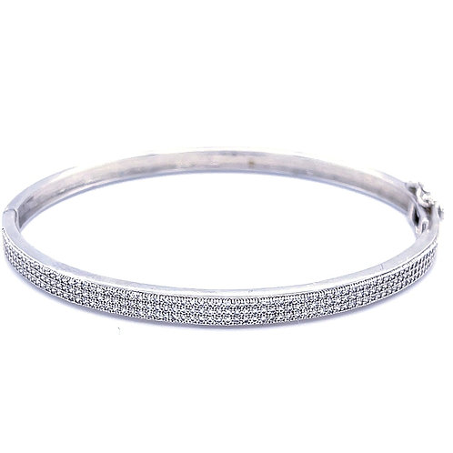 Sterling Silver Micro Pave Cubic Zirconia  X Large Fit Bangle 118364