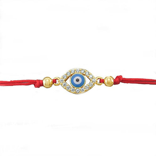 Gold Plated Sterling Silver Cubic Zirconia Evil Eye Rope Bracelet 143369