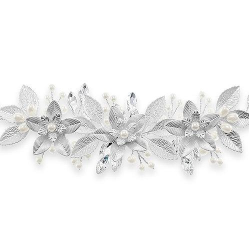 Bridal Matte Silver Pearl Bracelet 131853-10124863
