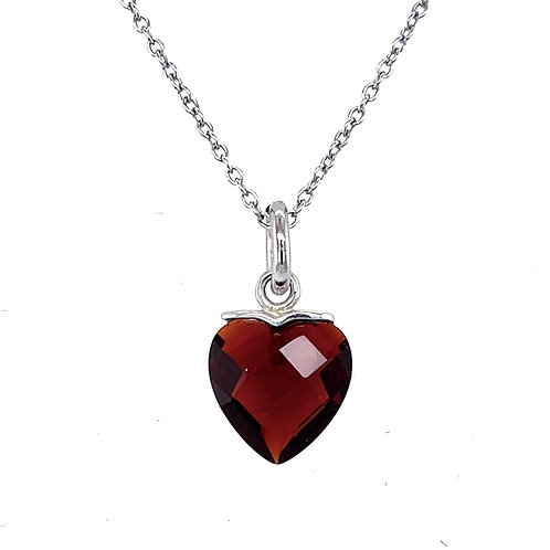 Sterling Silver Cubic Zirconia Heart Red Color Necklace 11710