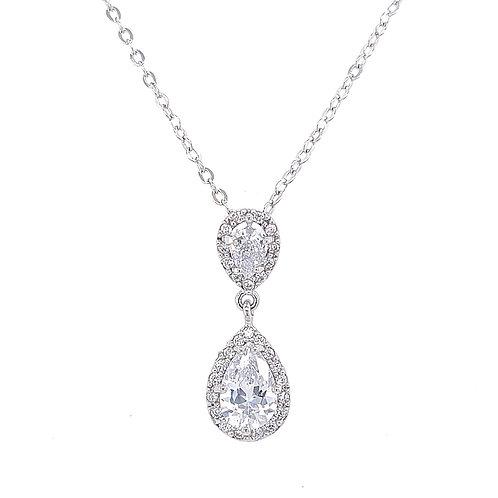 Fashion Silver Cubic Zirconia Necklace Set 134556