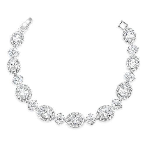 Bridal Silver Cubic Zirconia Oval Bracelet 131637-10124398