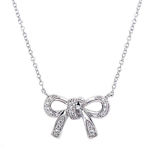 Sterling Silver Cubic Zirconia Bow Necklace 133015