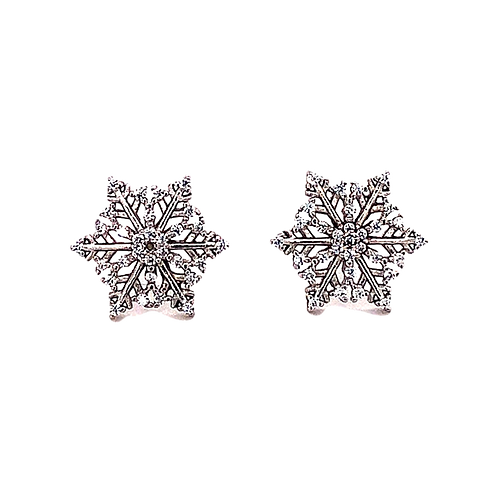 Sterling Silver Cubic Zirconia Snowflake Earrings 141741