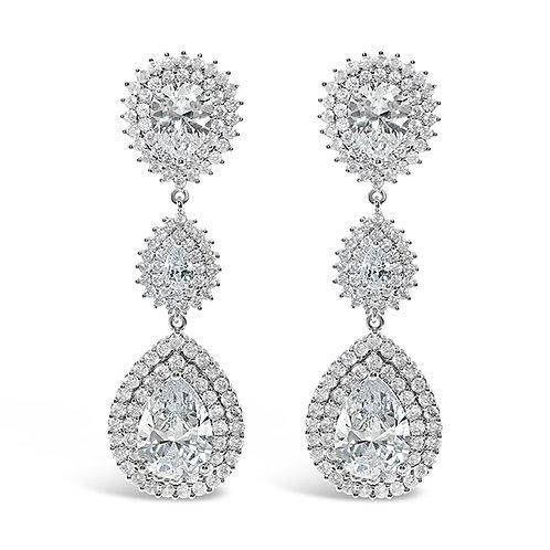 Bridal Silver Cubic Zirconia Tear Drop Earrings 134437