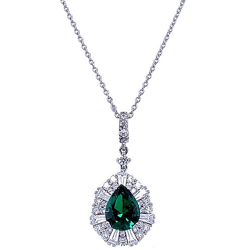 Sterling Silver Cubic Zirconia Tear Outline Green Necklace 141427