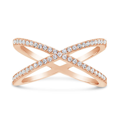 Rose Gold Plated Sterling Silver Cubic Zirconia Ring 131472