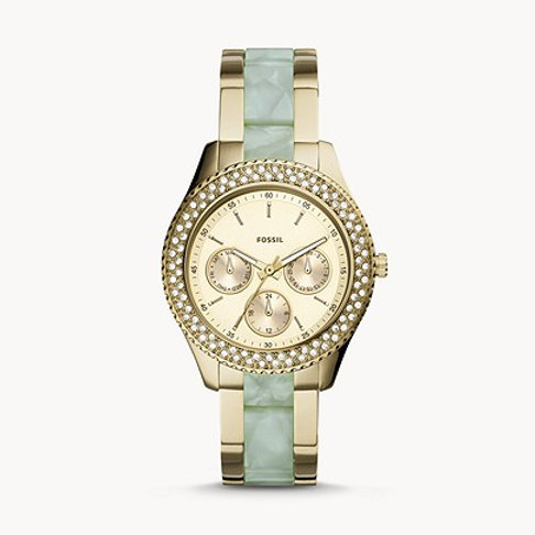 Fossil Stella Multifunction Two-Tone Stainless Steel and Acetate Watch