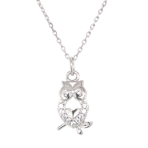 Sterling Silver Cubic Zirconia Owl Necklace 141195