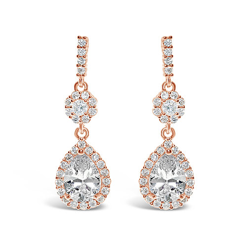 Rose Gold Cubic Zirconia Tear Drop Earrings 131643-10124418