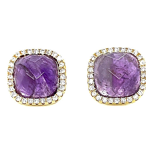 Gold Plated Sterling Silver Cubic Zirconia Amethyst Square Stud Earring