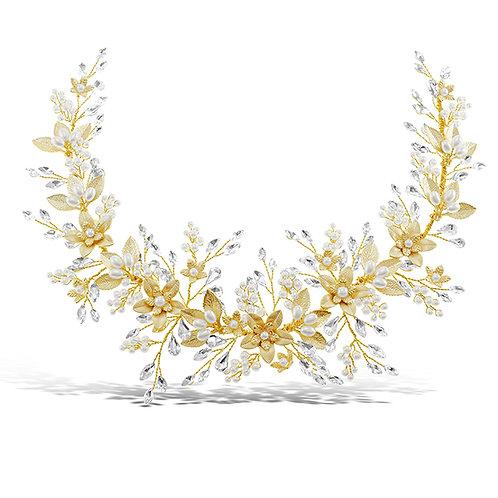 Bridal Gold Flower Hair Vine 131851-10124858