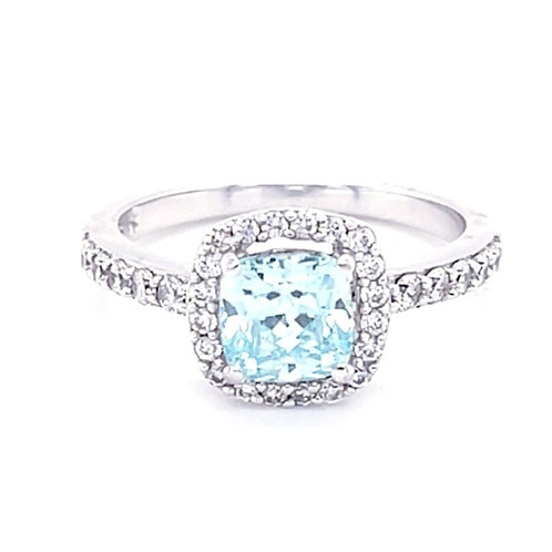 Sterling Silver Cubic Zirconia Blue Square Ring 129259
