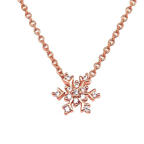 Rosegold Plated Sterling Silver Cubic Zirconia Snowflake Necklace 141387