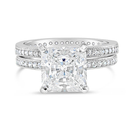 Sterling Silver Micro Pave Cubic Zirconia Set Ring 113917