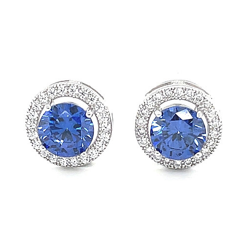 Sterling Silver Cubic Zirconia Round Blue Earrings 141731