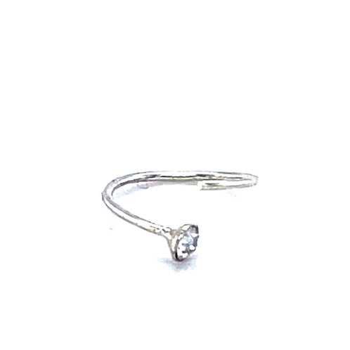 Sterling Silver 8 mm Nose Hoop With Crystal 142911