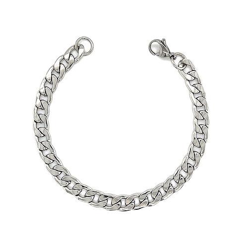 Men's Silver Stainless Steel Curb 6mm Bracelet 142925