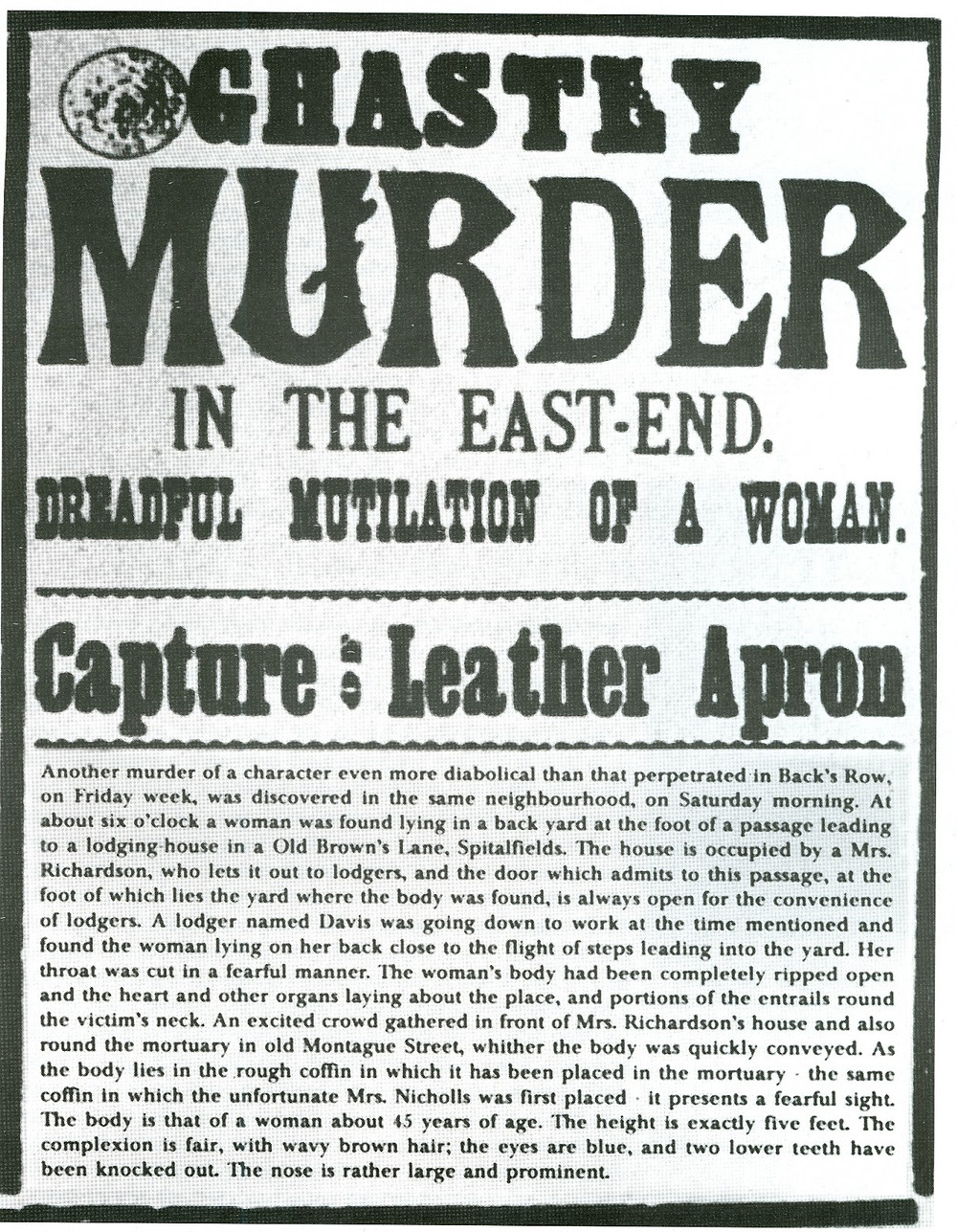 A wanted poster from 1888