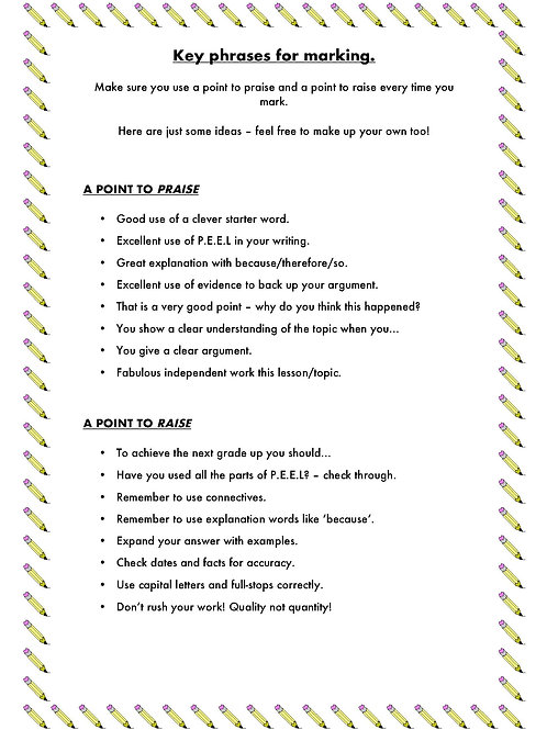 Key phrases for marking handout for teachers