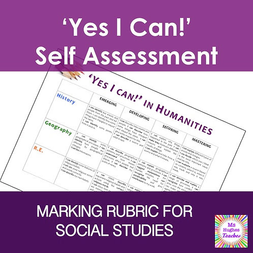 Yes I Can! Humanities marking Rubric.