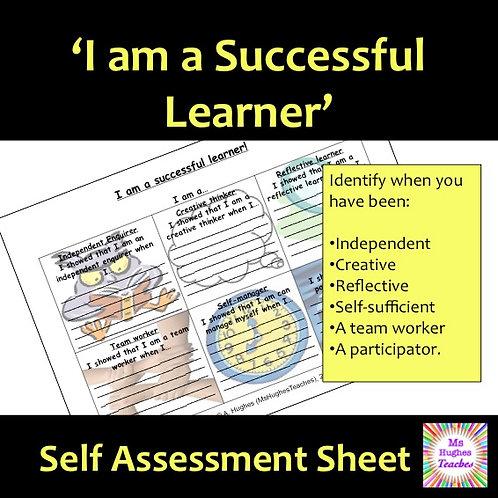 I am a Successful Learner self assessment sheet