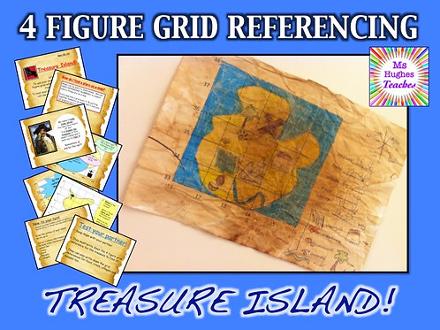 Pirate Treasure Island - Map 4 figure grid referencing