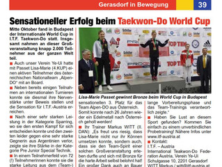 ITF Taekwon-Do World Cup Medaillen Gewinnerin in den Nachrichten