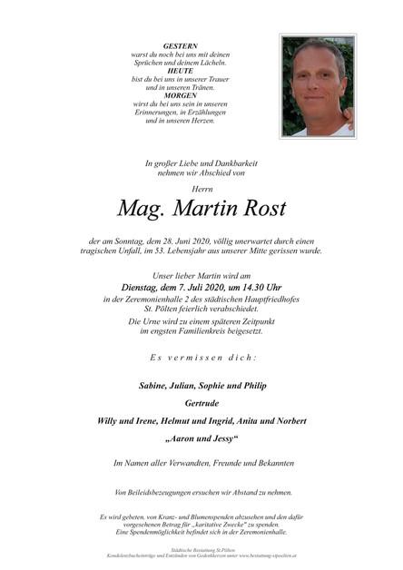 Nachruf Martin Rost