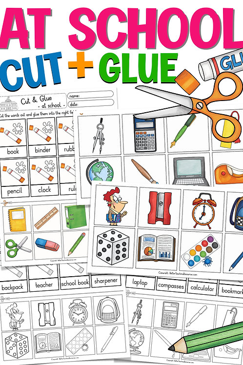 Arbeitsblatt school things Cut & Glue Englisch in der Grundschule