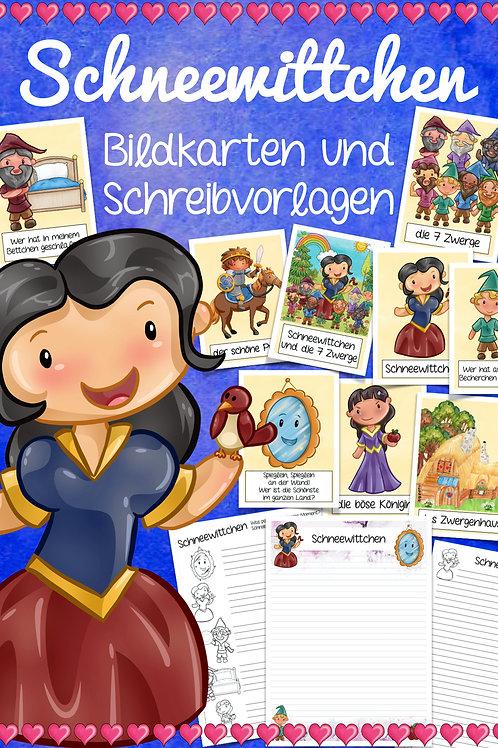 Märchen nacherzählen - Schneewittchen Bildkarten und Arbeitsblätter Grundschule Deutsch
