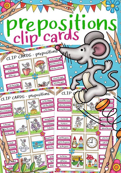 Spiel im Englischunterricht prepositions - clip cards (Klammerkarten)